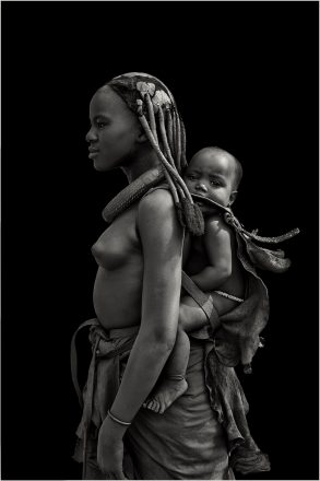 Ovahimba Girl with Baby, Swaartbooisdrift, Namibia, 2010, giclee hybrid, 83 x 56 cm, signed in margin.