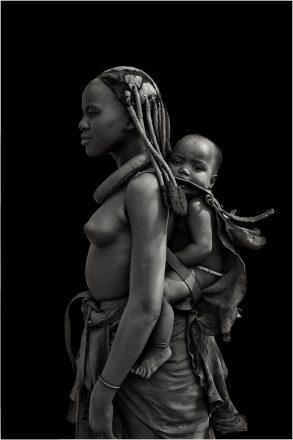 Ovahimba Girl with Baby, Swaartbooisdrift, Namibia, 2010, giclee hybrid, 83 x 56 cm, signed in margin.
